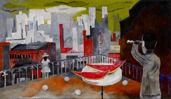 Rufino Tamayo, New York Seen from the Terrace [Nueva York desde la terraza], 1937, oil on canvas, 20 3/8 x 34 3/8 in. FEMSA Collection. © Tamayo Heirs/Mexico/Licensed by VAGA, New York, NY. Photo by Roberto Ortiz
